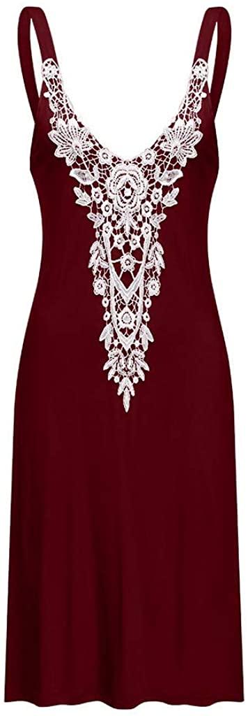 YFancy Women Beach Sling Boho Lace Sleeveless Casual Mini Beachwear Dress Summer Loose Tank Sundress