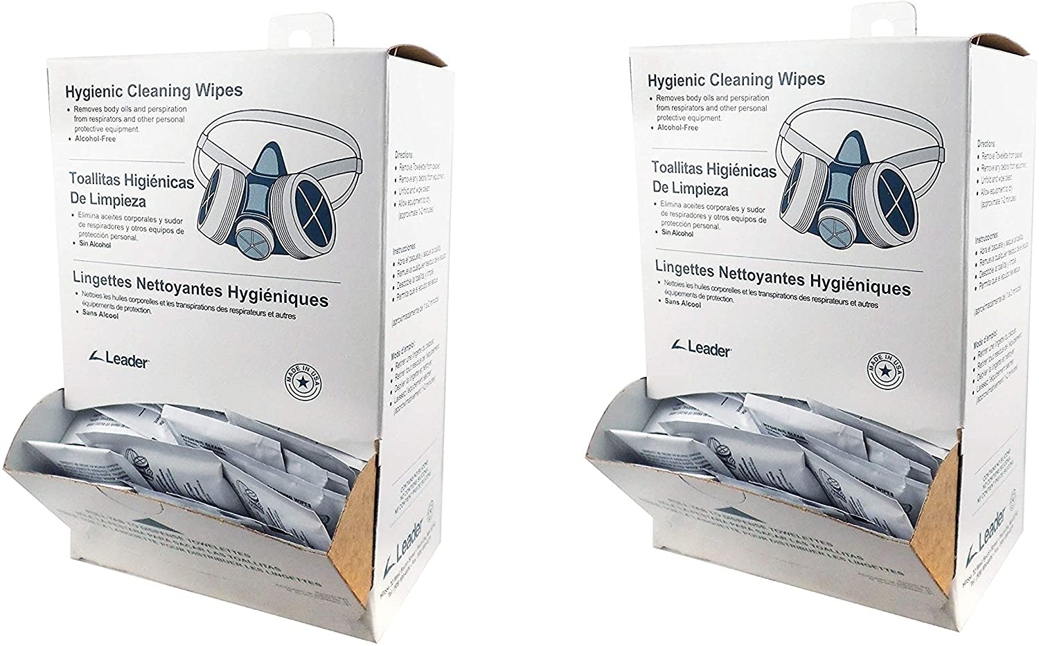 C-Clear 31 Pre-Moistened Respirator Alcohol Free Hygienic Cleaning Wipe Dispenser (Pack of 100) (2-Pack)