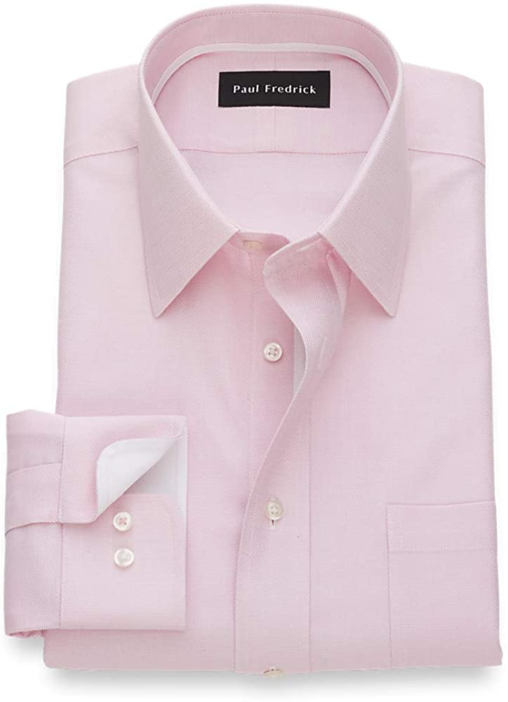Paul Fredrick Men's Tailored Fit Non-Iron Cotton Textured Solid Dress Shirt