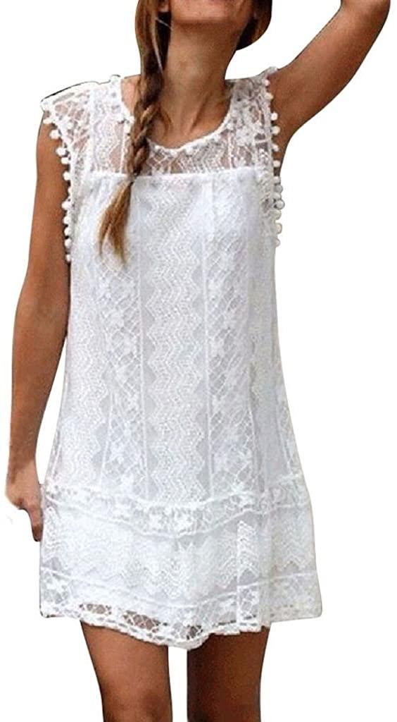 NREALY Women's Casual Lace Sleeveless Beach Short Dress Tassel Mini Dress Falda Clearance