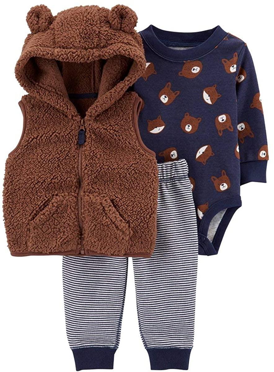 Carter's Baby Boys 3 Piece Little Vest Set (Bear)