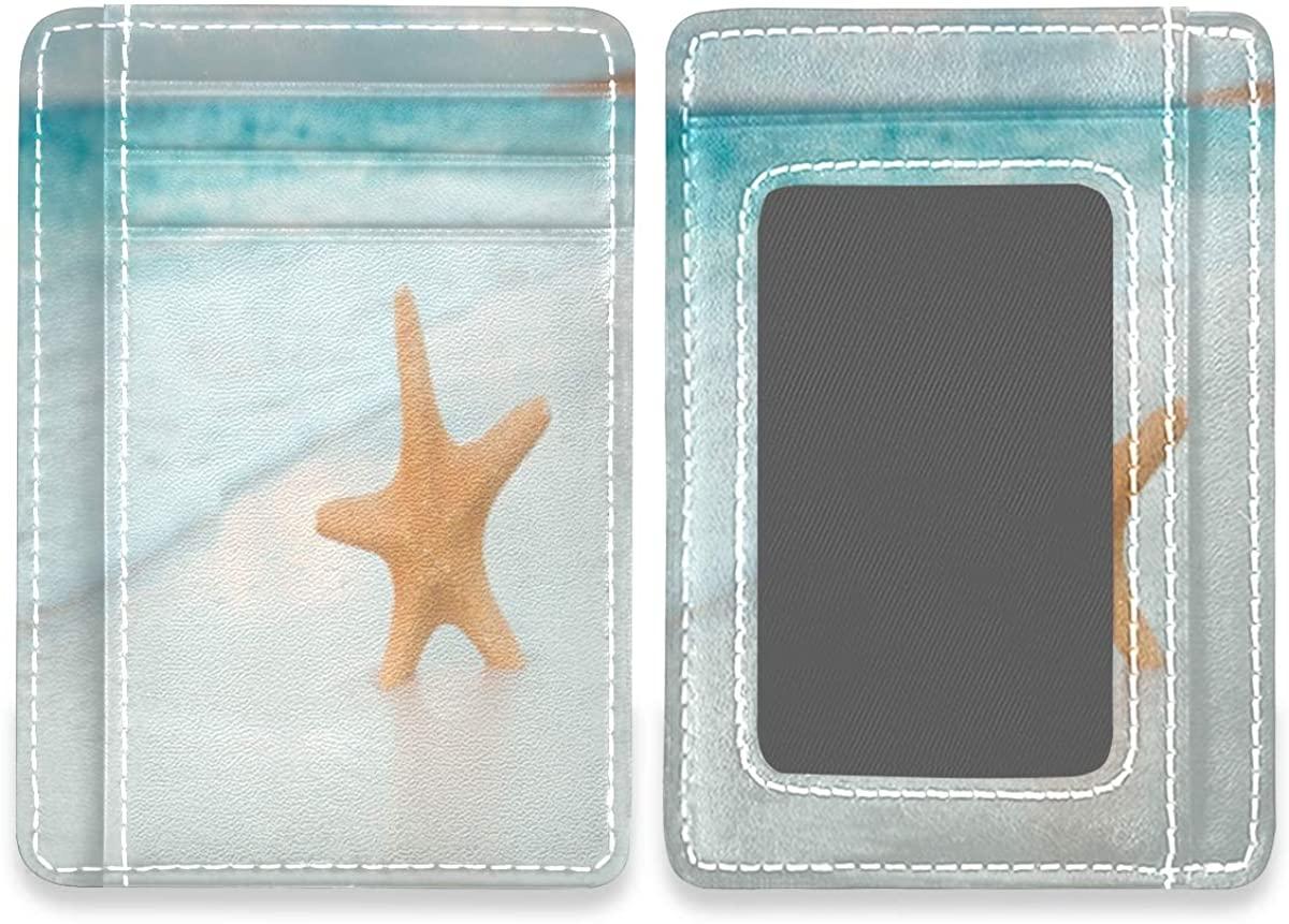 Starfish On Sand Slim Minimalist RFID Leather Wallets Front Pocket Credit Card Holder Men