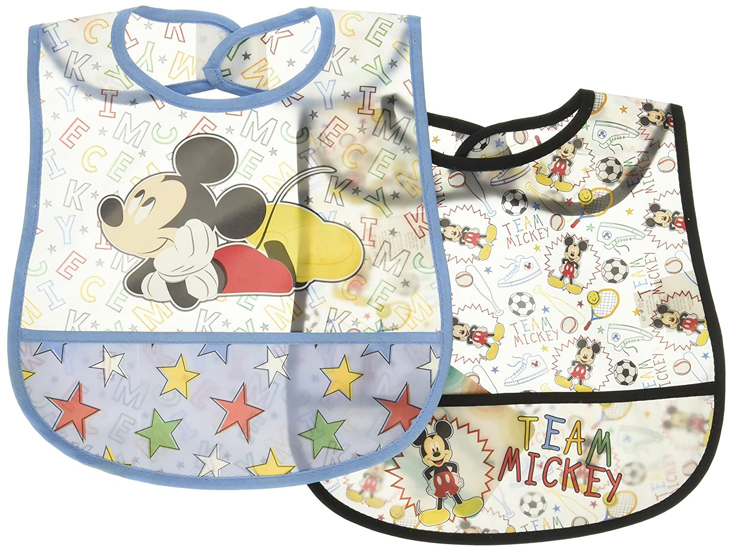 Disney Mickey Mouse 2 Piece Printed Frosted Water Proof Peva Bib, Blue Crumb Catcher Pocket