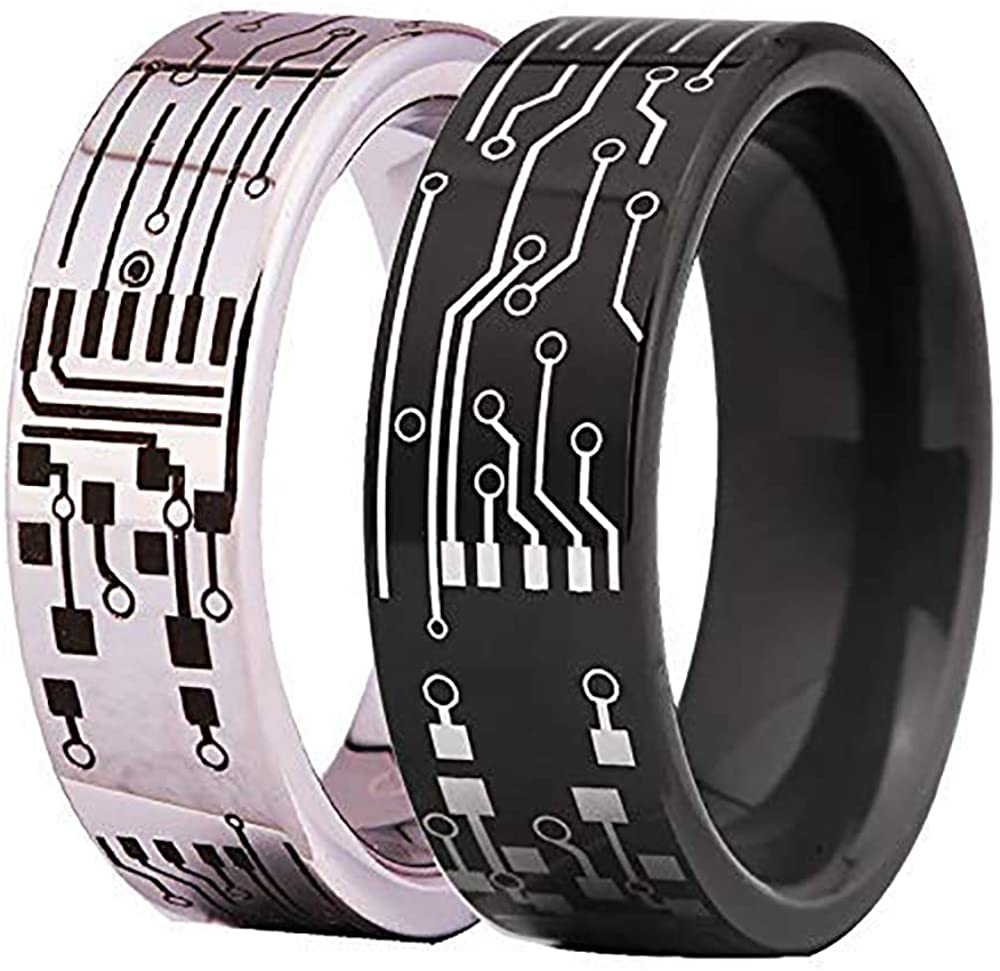 8mm Width Tungsten Carbide Ring Computer Circuit Pattern Ring Wedding Ring and Engagement Ring-Free Engraving Inside