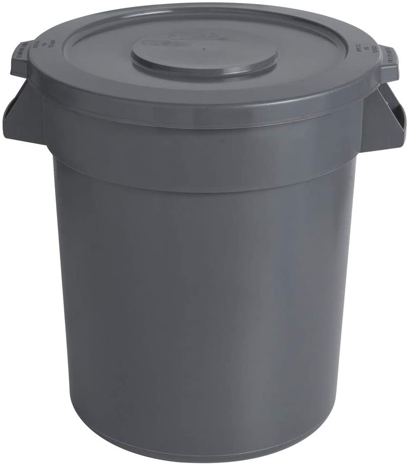 10 Pack! 20 Gallon / 75 Liters Gray Round Ingredient Bin/Commercial Trash Can and Lid. Trash Container. Trash Bucket. Garbage Bin. Waste Bin. Home Trash Can. Commercial Waste bin