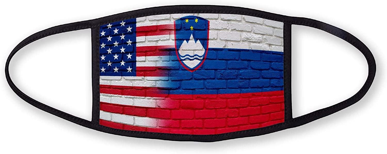 3-Layer reusable/washable Facemask - Flag of Slovenia (Slovene) - Bricks with USA Flag