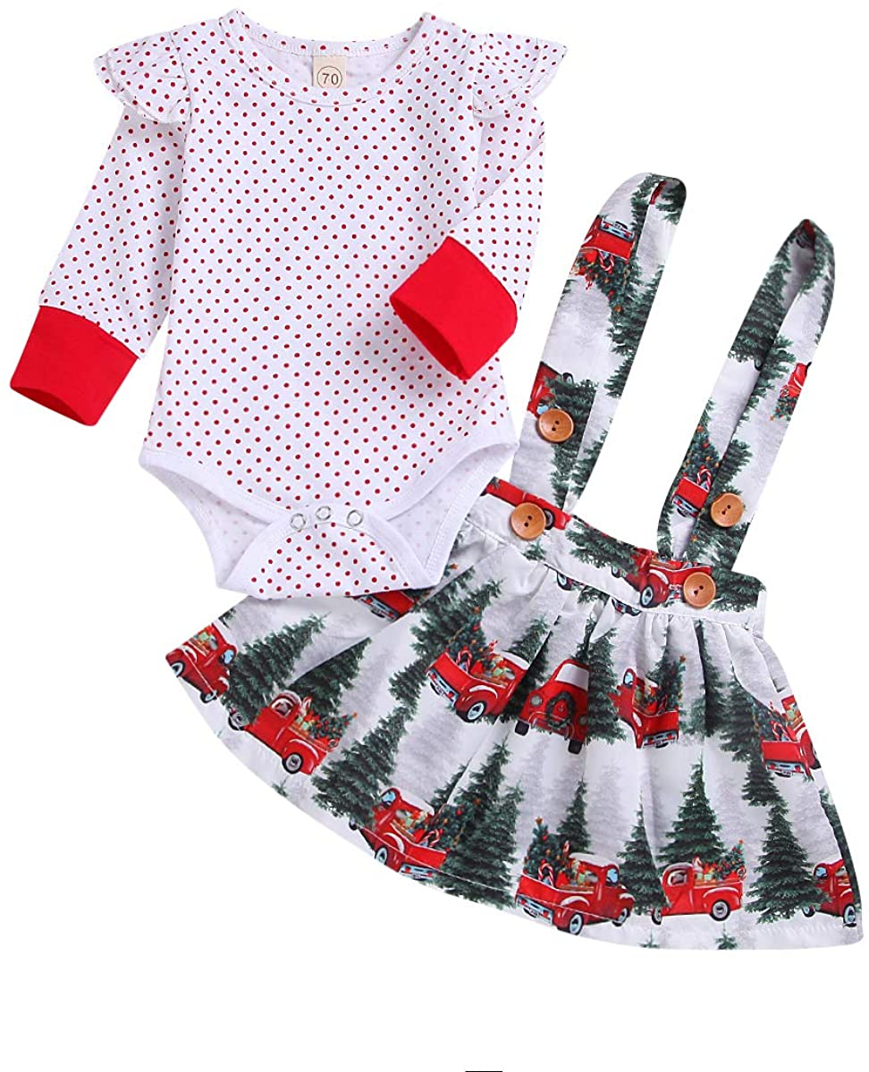Toddler Baby Girls Christmas Skirt Set Long Sleeve Red Polka Dot Top + Snow Pine Forest Car Print Strap Dress for Newborn (White, 6-12 Months)