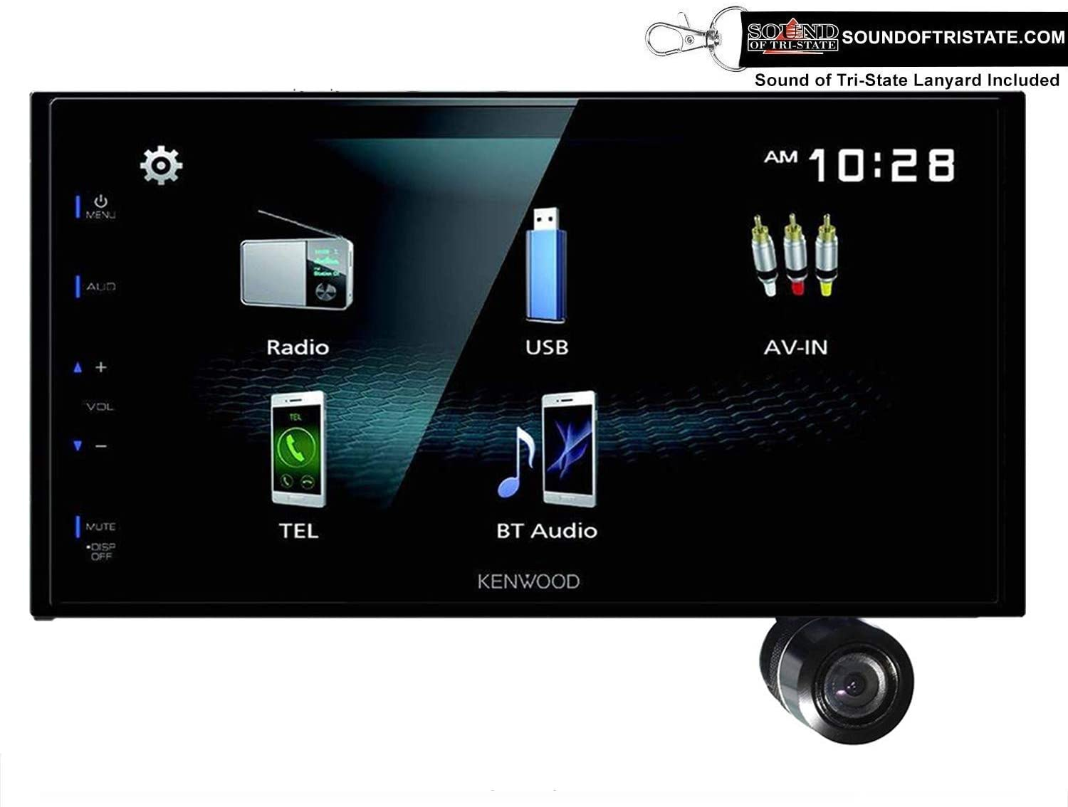 """Sound of Tri-State Kenwood DMX125BT 6.8"""" Digital Multimedia Receiver with Built in Bluetooth & Bullet Style Backup Camera and Lanyard Bundle"""
