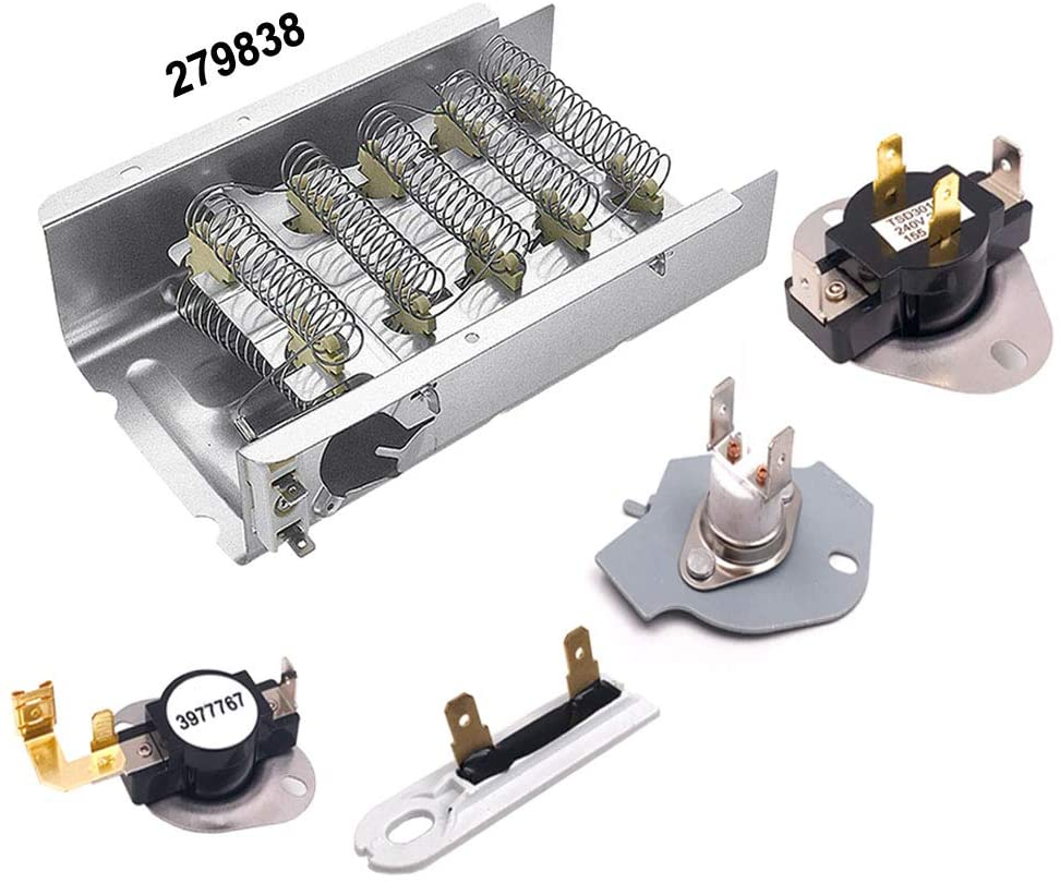 279838 Dryer Heating Element for Whirlpool Kenmore Dryer Heating Element,3387134 3977767 Thermostat 3392519 3977393 Thermal Fuse Complete Dryer Kit Replacement,Exact Fit for your Dryers