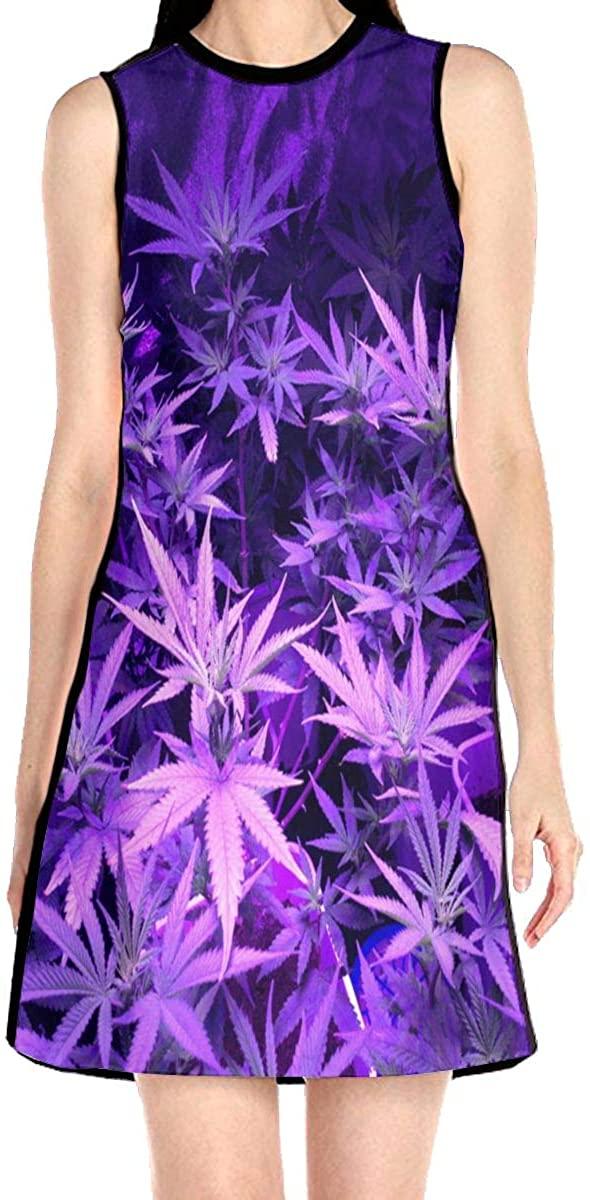 Purple Weed Marijuana Leaf Women's Sleeveless Dress Casual Slim A-Line Dress Tank Dresses