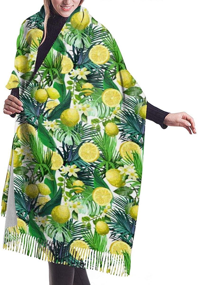 Lemon Flowers Tropical Leaves Pattern Womens Winter Warm Scarf Fashion Long Large Soft Cashmere Shawl Wrap Scarves