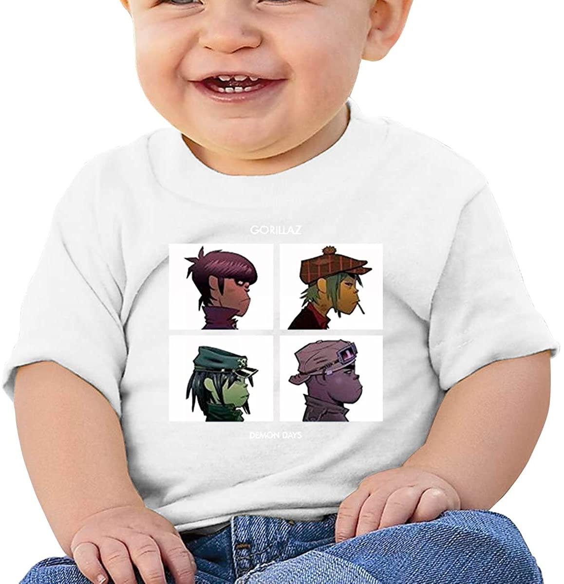 6-24 Months Boy and Girl Baby Short Sleeve T-Shirt Gorillaz Demon Days Original Minimalist Style White