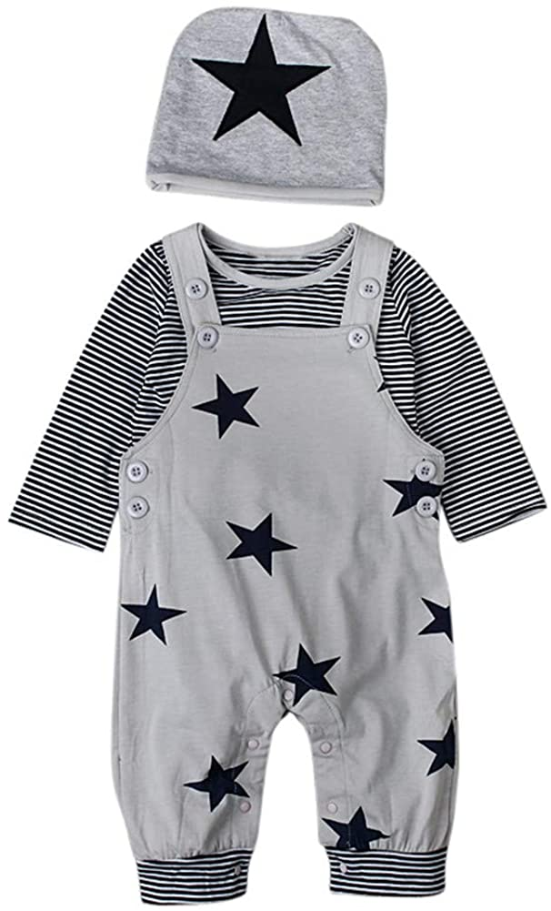 EITC Baby Toddler Boy Outfits Long Sleeve Striped T-Shirt Star Print Overalls with Hat