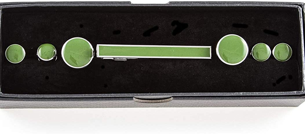 MRCUFF Green Cufflinks & Studs, Tie Bar Tuxedo Set in Presentation Gift Box & Polishing Cloth