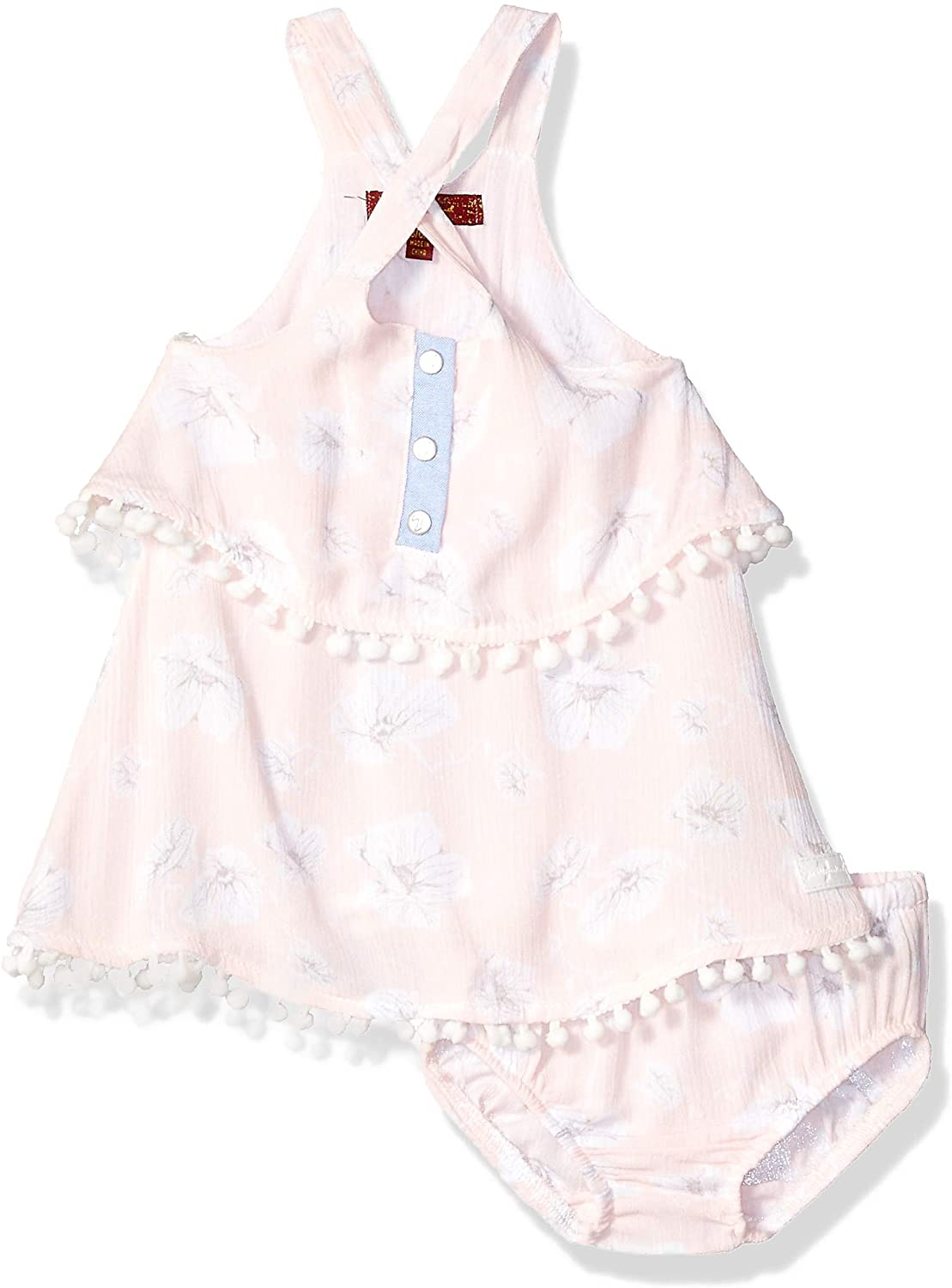 7 For All Mankind Baby Girls Crinkle Tiered Dress with Bloomer Cover