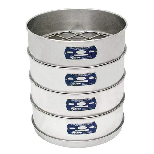 Gilson V12SHXPE Stainless Steel ASTM Round Test Sieve, Half Height Pan with Rim, 12