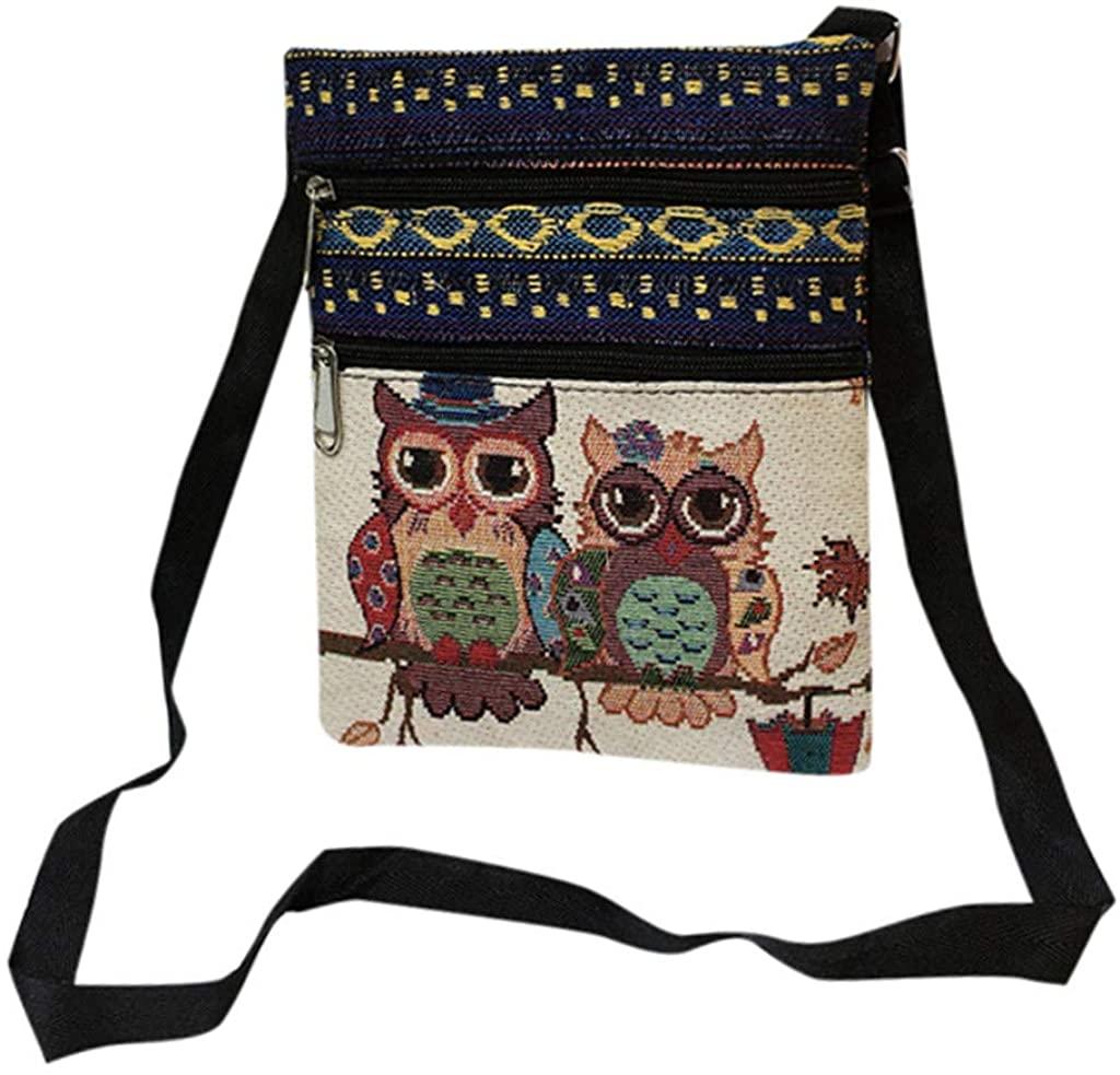 Oldlover✚Women Canvas Shoulder Bag Messenger Purse Zip Owl Satchel for Women Girls Tote Handbag Crossbody Gifts