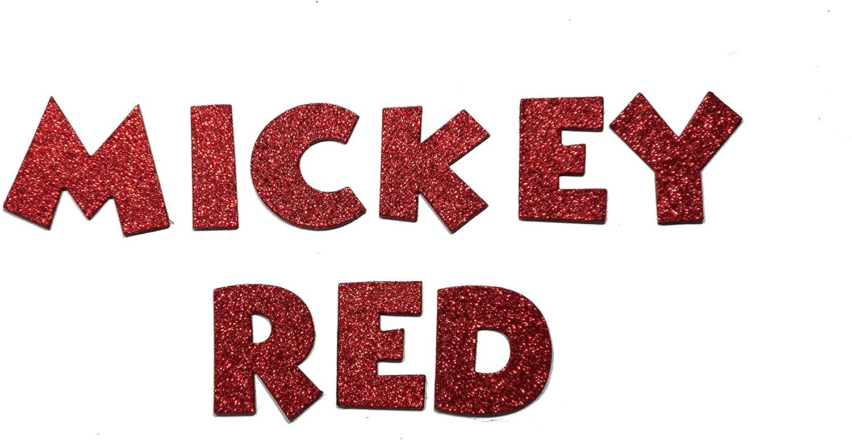 Red Metallic Glitter HandCut Chipboard Uppercase Letters Alphabet Set Sickers 1.5 Mickey Font