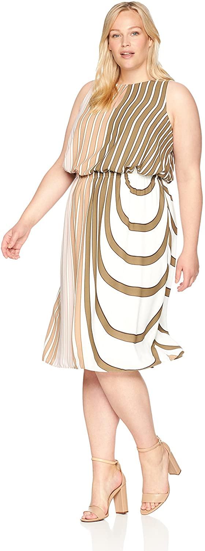 Adrianna Papell Women's Size Plus Blouson Midi Halter Dress