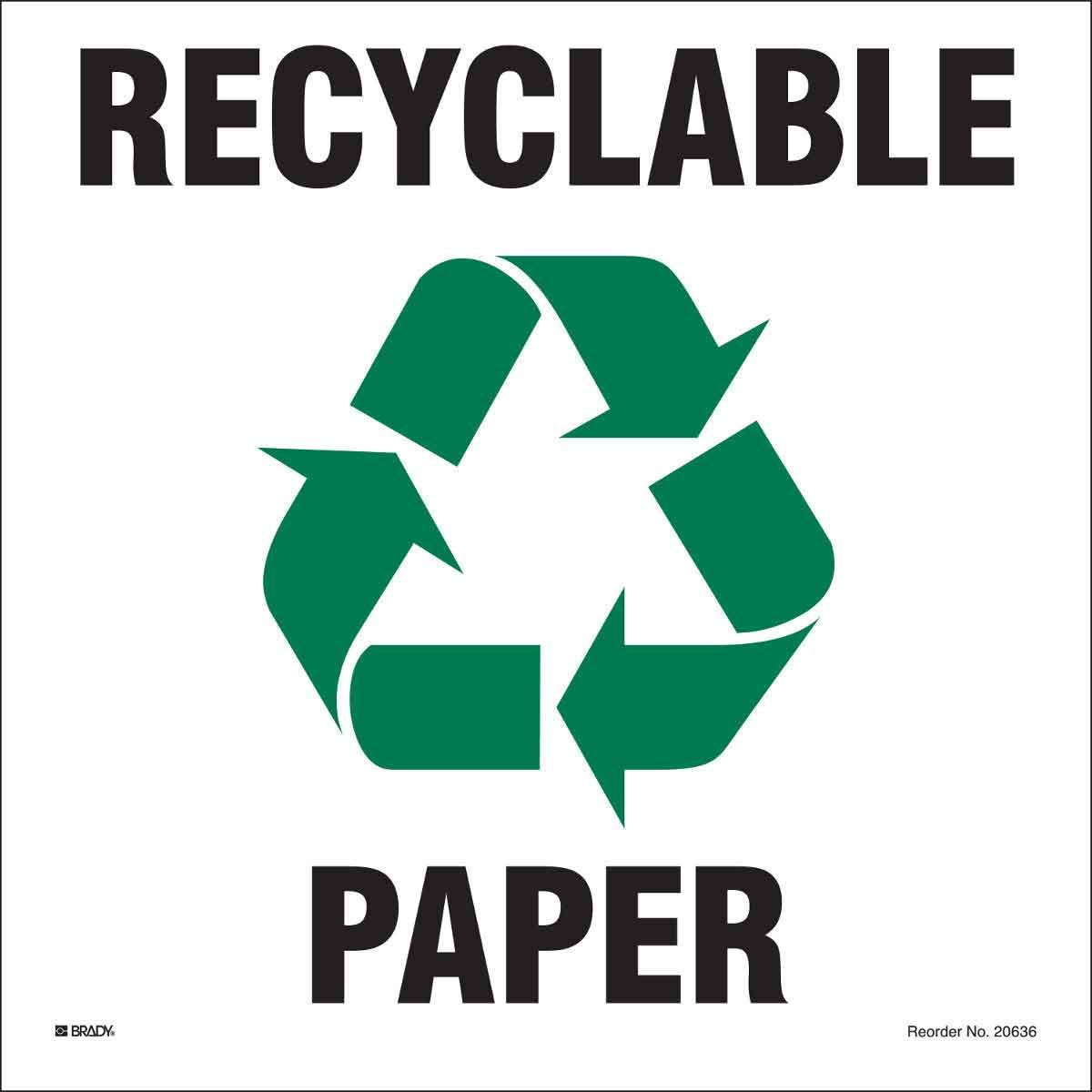 Recycling and Conservation Labels, Indoor/Outdoor Industrial, Green/Black On White