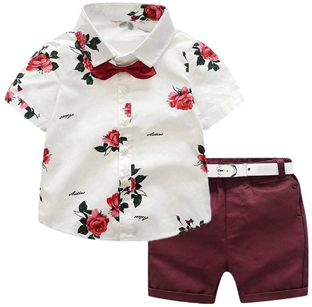 terbklf Toddler Baby Boy Summer Casual Gentleman Suit Rose Print Bow Tie Lapel T-Shirt Shirts Shorts Pants Outfit Set
