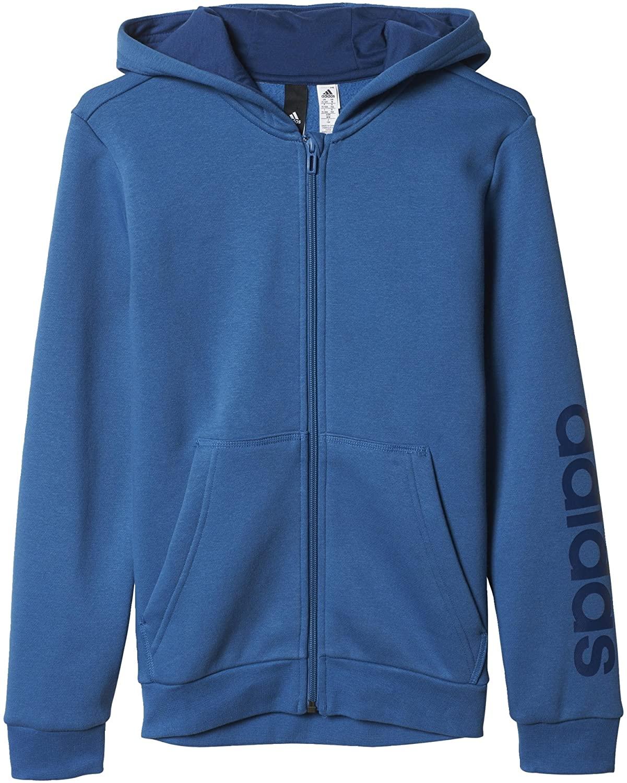 adidas Boys Sweatshirt Essentials Linear Full Zip Hoodie Junior Sporty