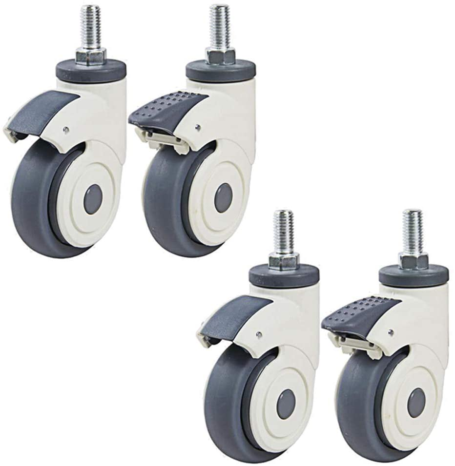 M12 Thread casters Swivel Wheels Silent TPR Rubber with Brake for Hospital Heavy Duty 240 kg stem for Trolley Bed Table 4pcs