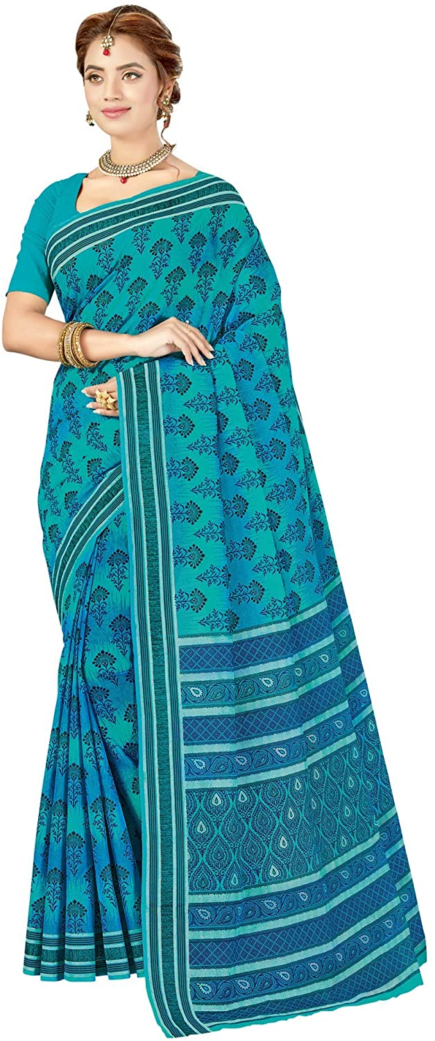 Women's Pure Cotton Printed Saree with Blouse Blue