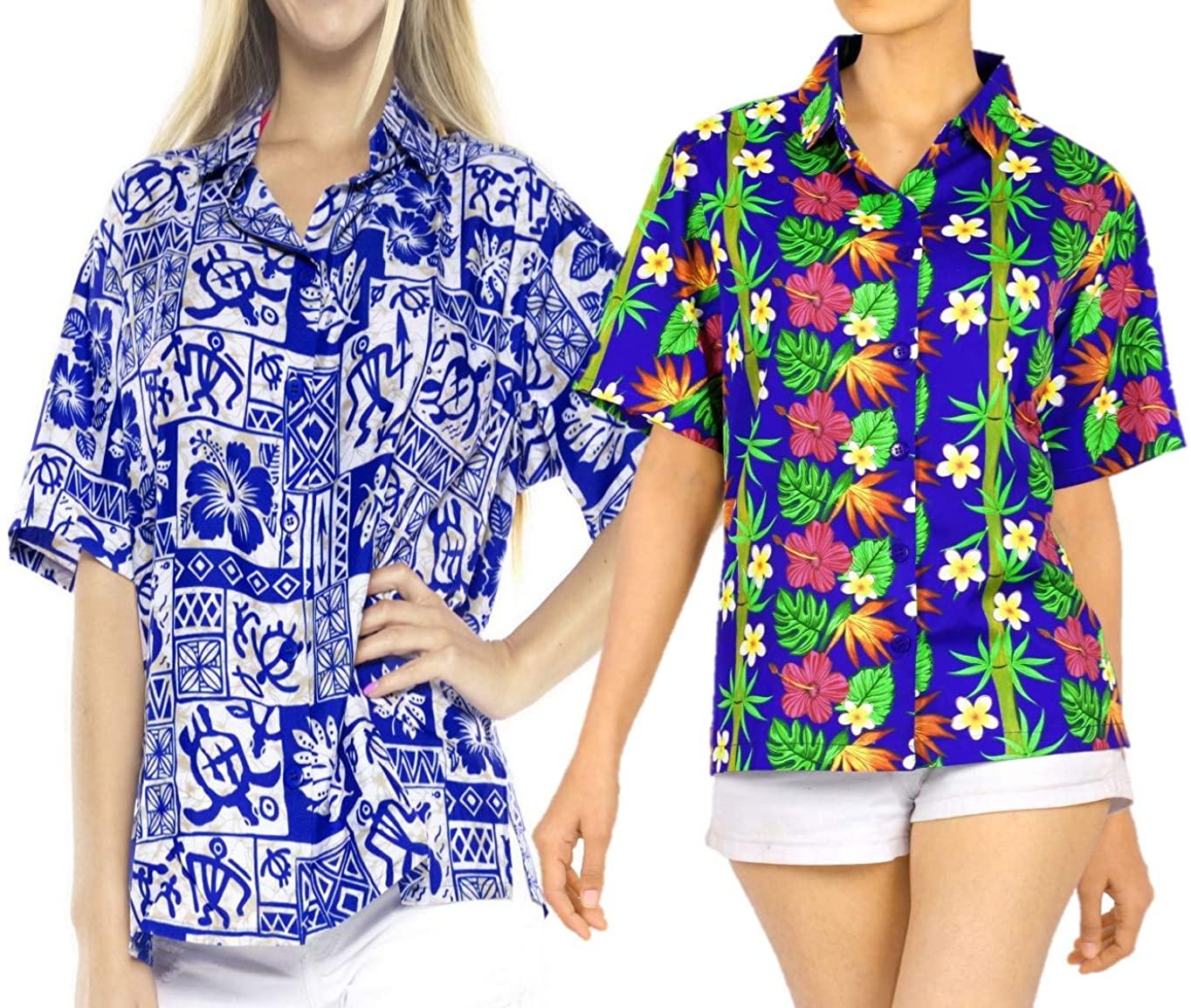 LA LEELA Women's Beach Hawaiian Shirt Button Down Aloha Party Shirt Work from Home Clothes Women Beach Shirt Blouse Shirt Combo Pack of 2 Size XL