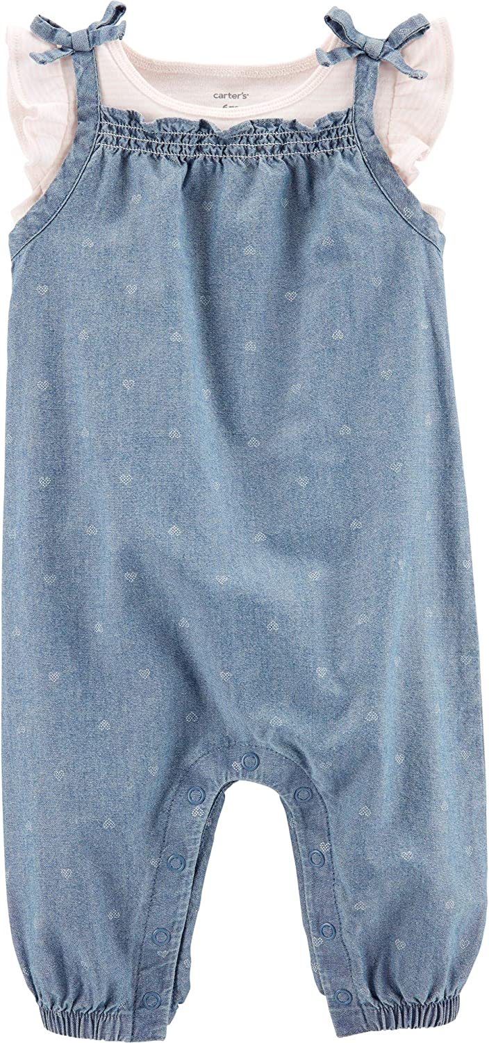 Carter's Bbay Girl 2-Piece Tee & Chambray Coveralls Set