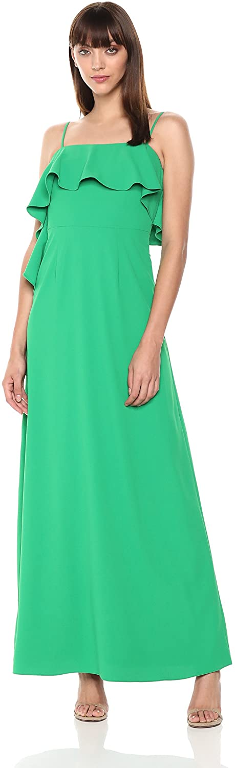 ML Monique Lhuillier Women's Crepe Ruffle Maxi Gown