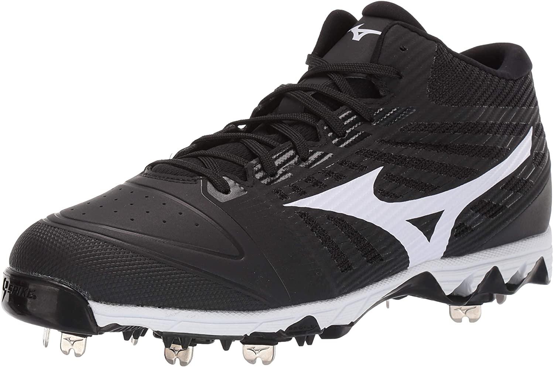 Mizuno Mens 9-Spike Ambition Mid Metal Cleat Baseball Shoe