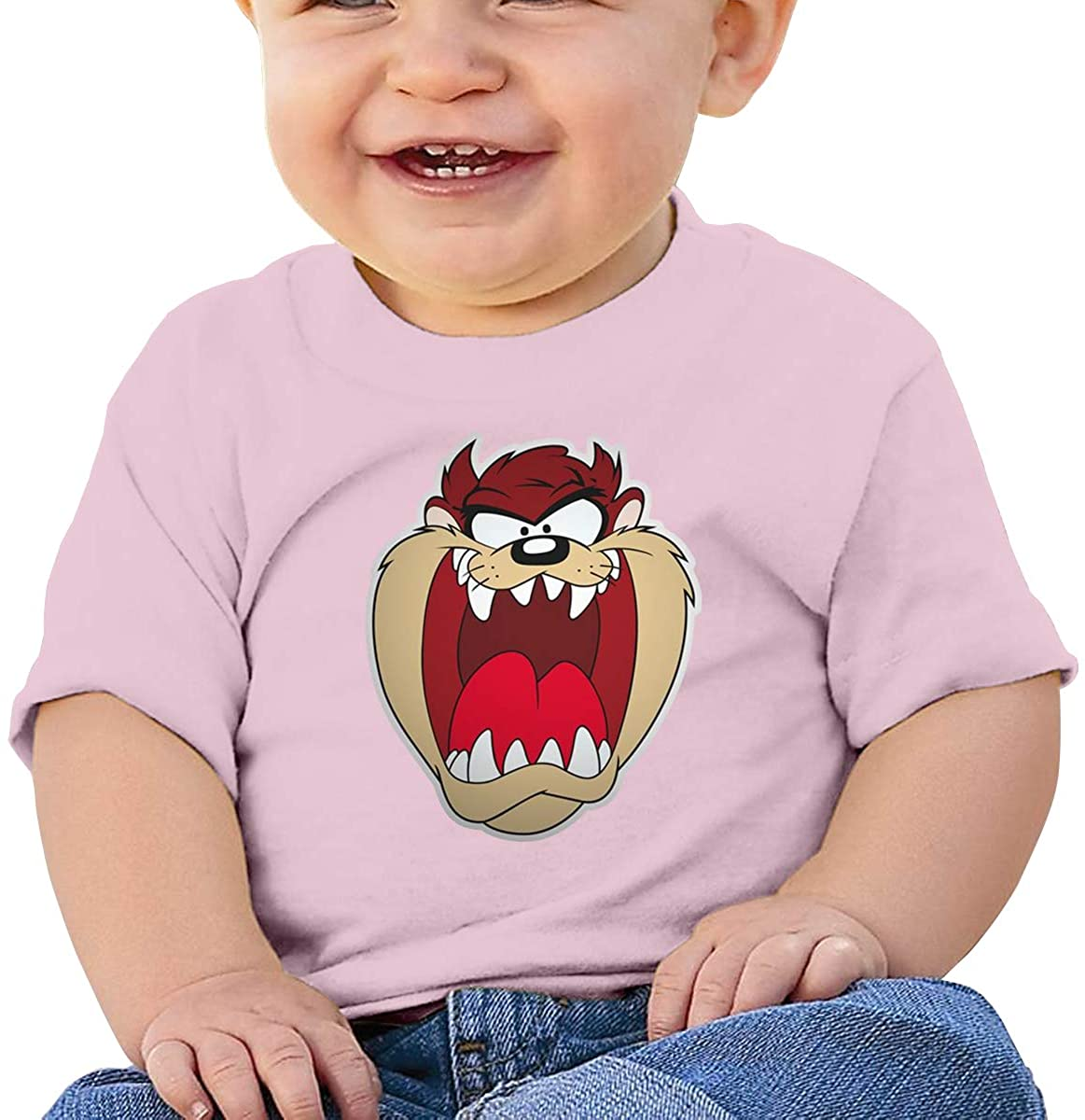 6-24 Months Boy and Girl Baby Short Sleeve T-Shirt Looney Tunes Tasmanian Devil Taz Original Minimalist Style Pink