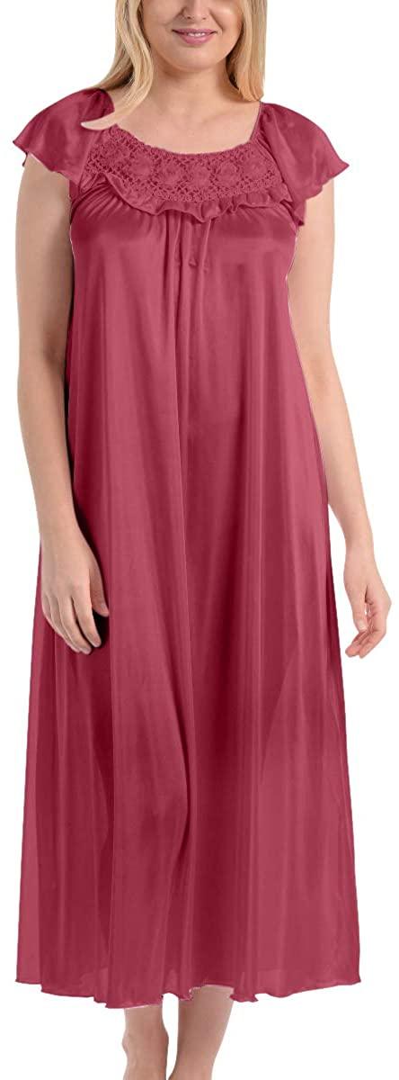 Ezi Women's Satin Silk Ruffle Long Nightgown