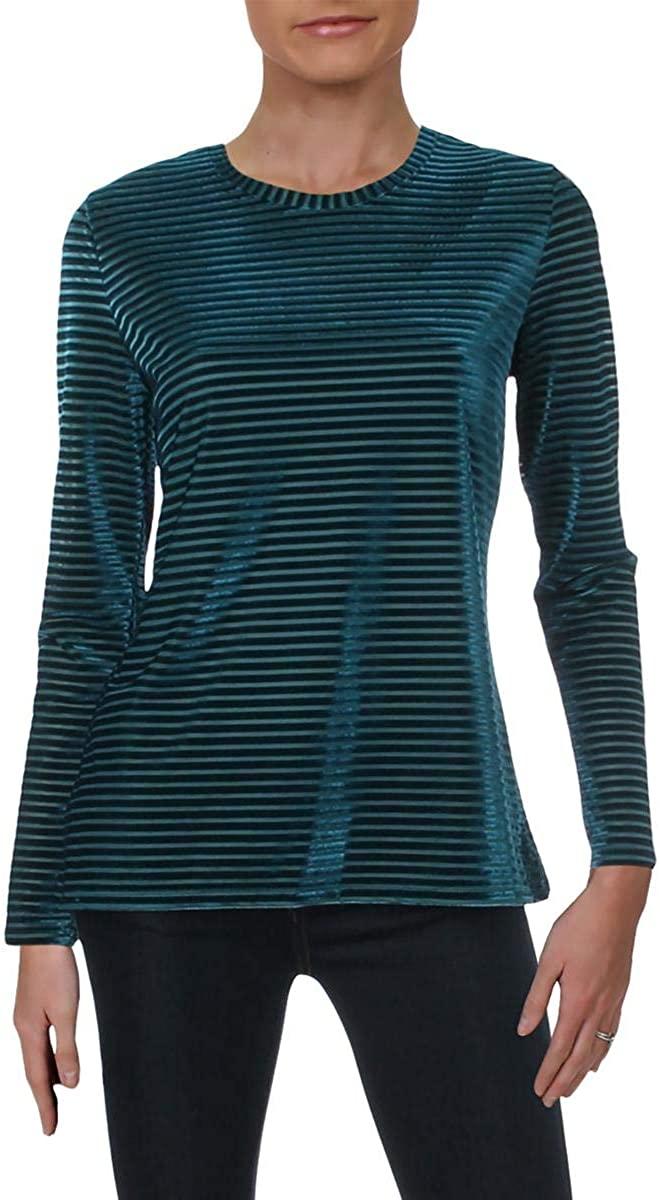 Michael Michael Kors Womens Petites Velvet Sheer Pullover Top Blue PL