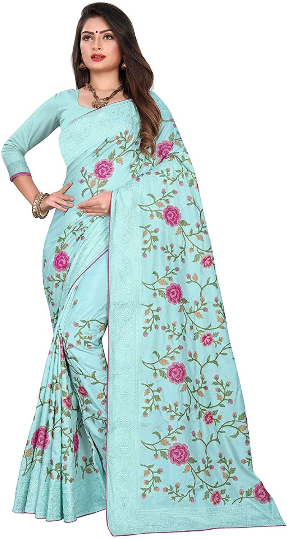 Indian Saree for Women Ethnic Sari Sky Dola Silk Sari with Unstitched Blouse. ICW2690-4