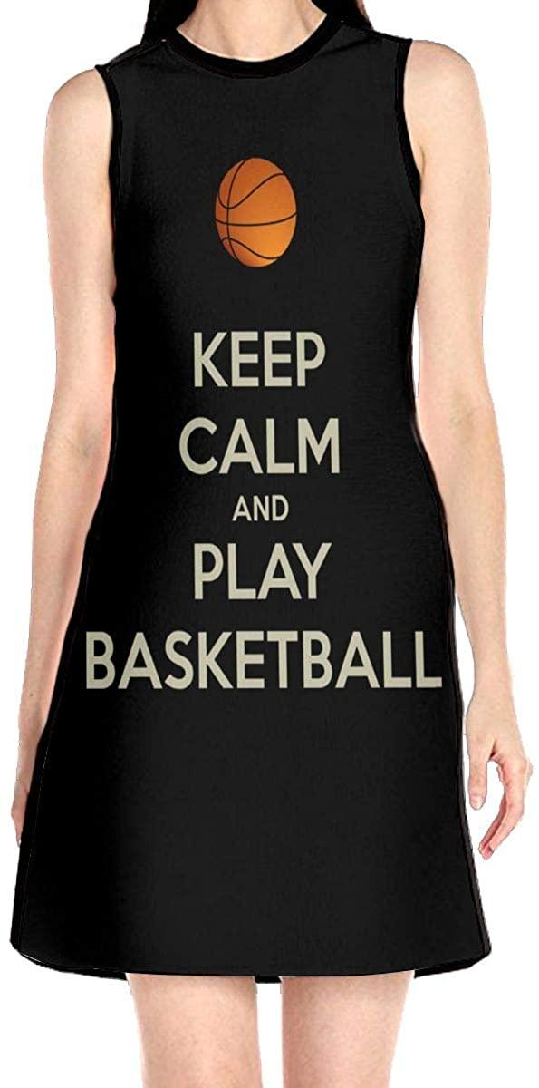 Keep Calm and Play Basketball Women's Sleeveless Dress Casual Slim A-Line Dress Tank Dresses