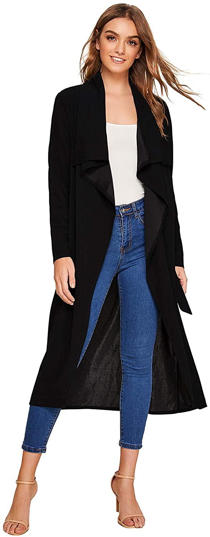 Verdusa Women's Casual Long Sleeve Lapel Outwear Duster Coat Cardigan