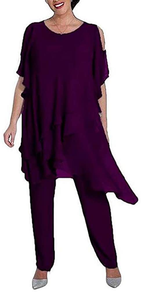 Women's Purple 2 Pieces Chiffon Outfit Pant Suits Mother of The Bride Pant Suits Evening Party Prom Dress US16W