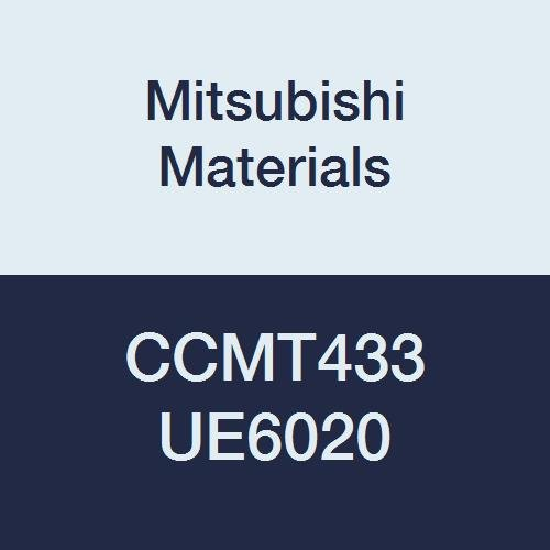 Mitsubishi Materials CCMT433 UE6020 CVD Coated Carbide CC Type Positive Turning Insert with Hole, Rhombic 80°, 0.5