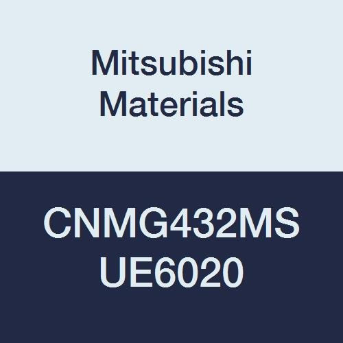 Mitsubishi Materials CNMG432MS UE6020 Coated Carbide CN Type Negative Turning Insert with Hole, Rhombic 80°, Grade UE6020, 0.5