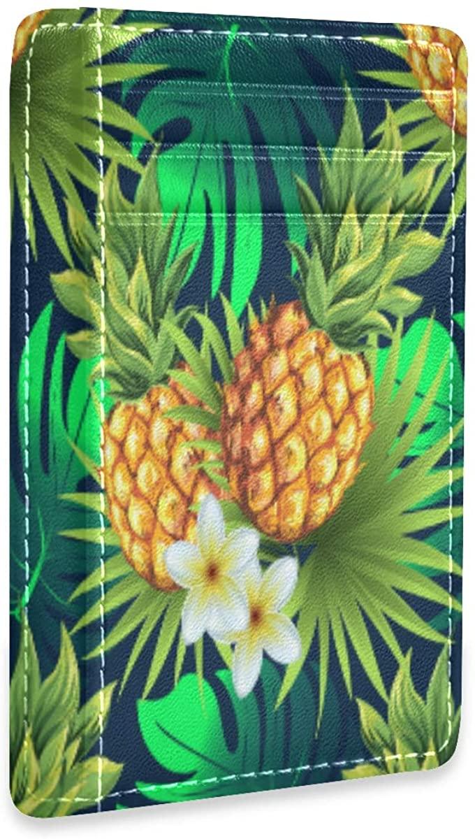 Slim Minimalist Wallet Men Women Pineapple Seamless Pattern Rfid Credit Card Holder Wallet Leather