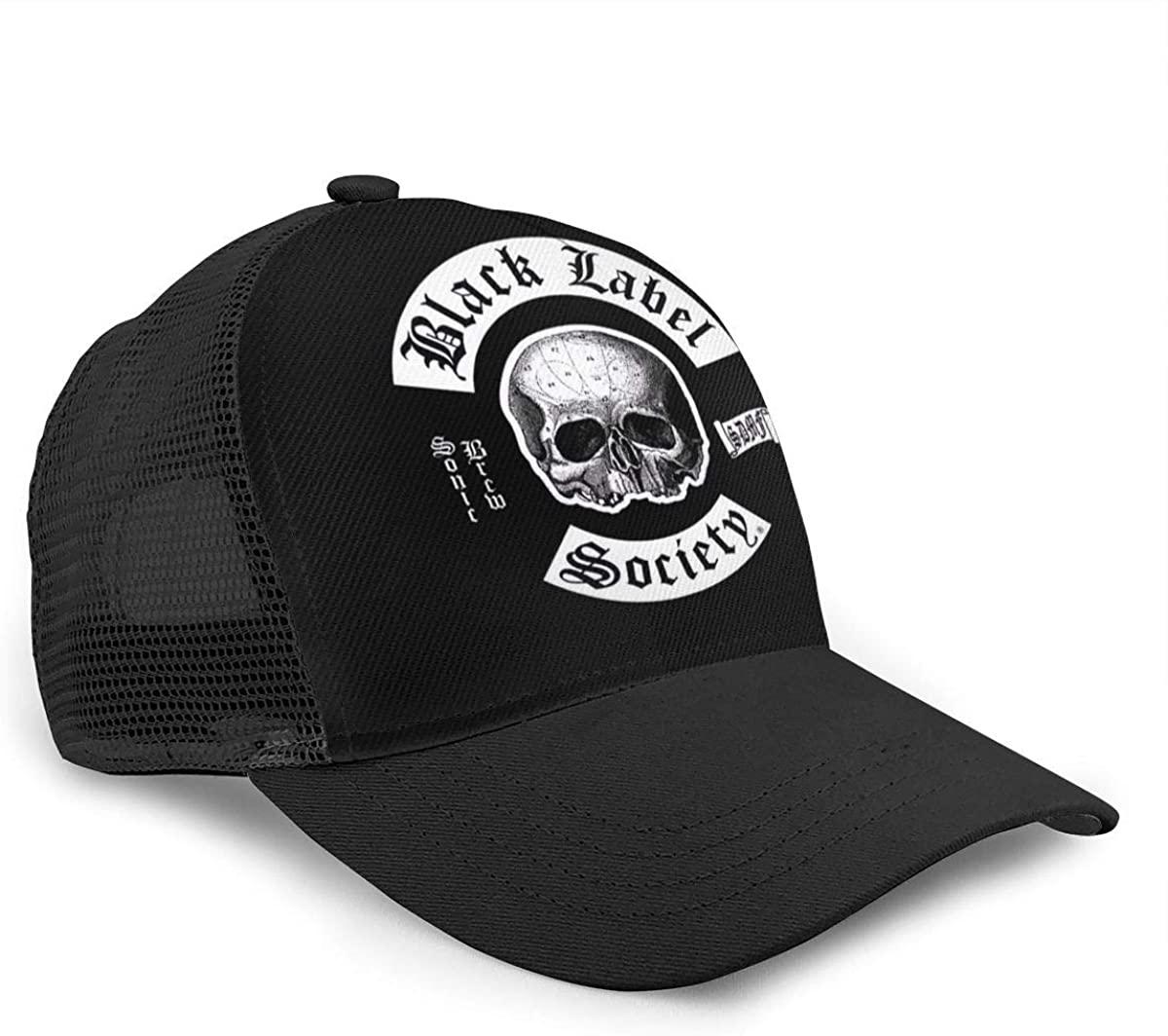 Vicnen Black Label Society Unisex Baseball Cap for All Seasons Adjustable Grid Sports Hat Black