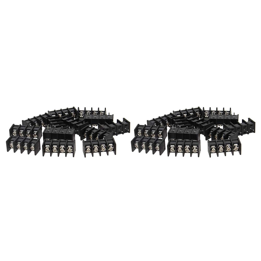 Fielect 30Pcs 300V 15A 5.08mm Pitch 4P Flat Angle Needle Seat Fence Type PCB Terminal Block Connector Black
