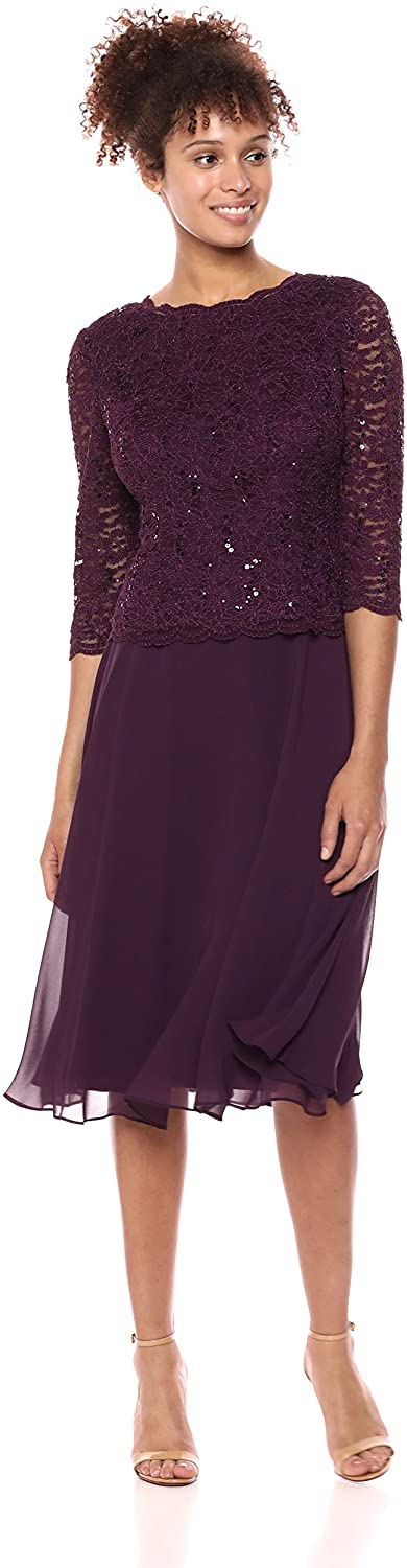 Alex Evenings Womens Sequin Lace Mock Dress (Petite and Regular)
