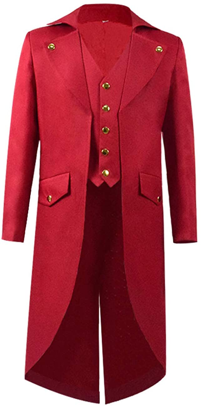 Steampunk Vintage Tailcoat Jacket Gothic Victorian Frock Black Steampunk Coat Uniform Costume for Child (Big Boys 8, Red)