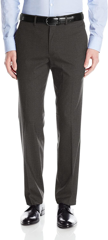 J.M. Haggar Mens Premium Stretch Plain-Front Flex-Waistband Straight-Fit Dress Pant