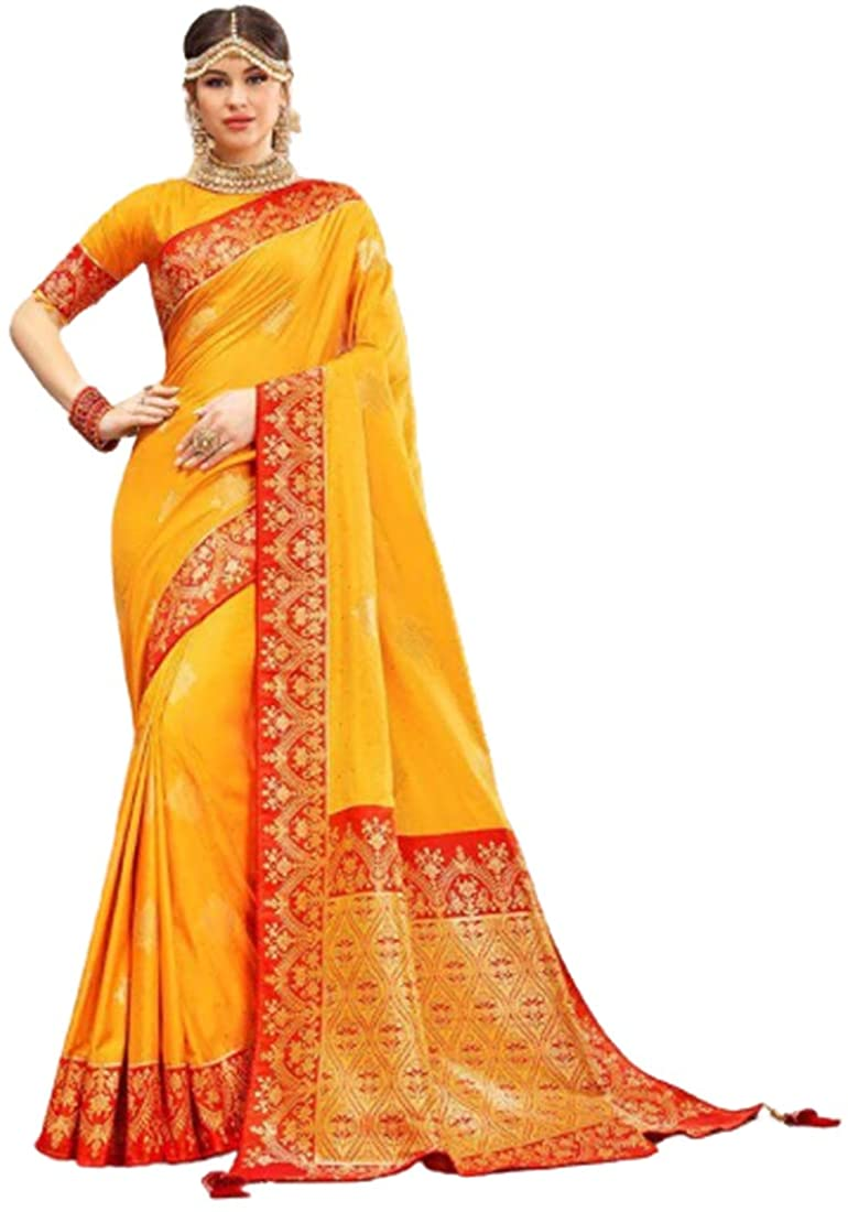 Yellow Wedding Party Special Traditional Soft Silk Saree Sari Blouse Muslim Women Indian Dress 9815B