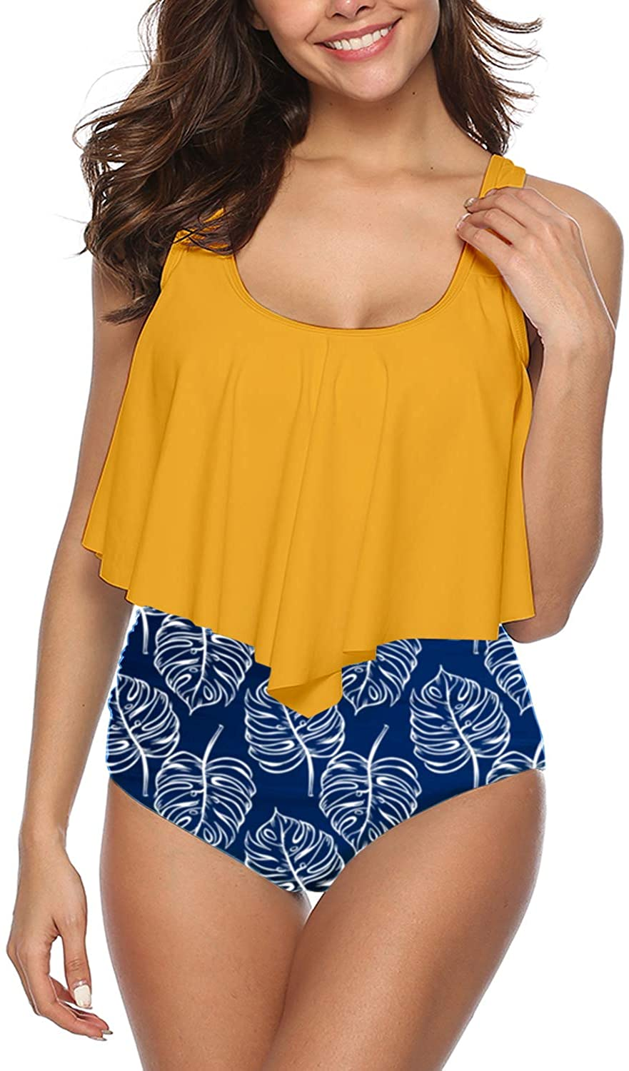 I2CRAZY Women High Waisted Swimsuit Two Piece Ruffled Flounce Top with Ruched Bottom