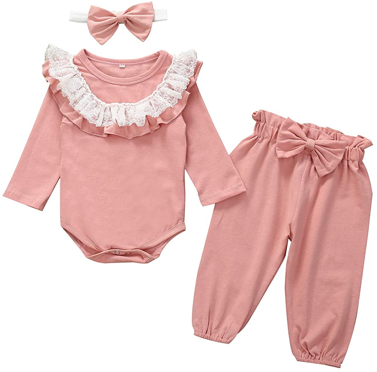 Argorgeous Newborn Baby Girls Clothes Long Sleeve Ruffle Romper Long Pants Headband Toddler Pink Fall 3Pcs Outfits